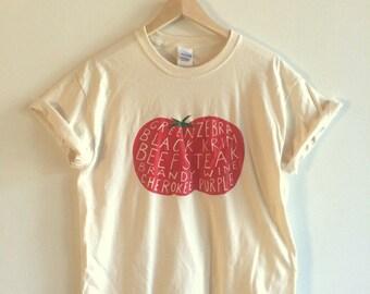 Tomato Screen Printed T Shirt, Vegetable Print