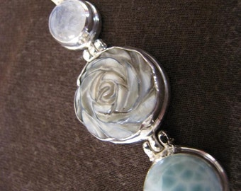 Sterling Silver Moonstone Mother of Pearl and Larimar Pendant
