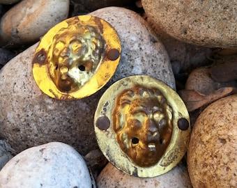 Pair Of Brass Lion Head Antique Furniture Accents - Classic Vintage Craftsman Hardware