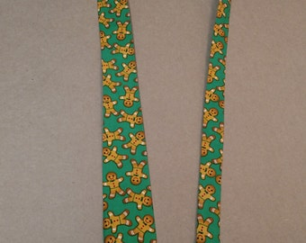 Skinny Neck Tie made from Gingerbread Man fabric