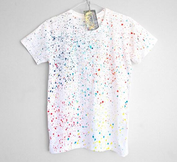 COLOUR SPLASH. 100% organic cotton T shirt. Hand painted. Colour splash t shirt. Colour dot t shirt