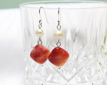 Red Orange Jade Earrings with White Freshwater Pearls and Sterling Silver 925