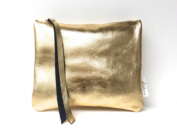 Leather pouch gold, gold leather purse, small leather bag gold