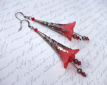 Red bell flower antique brass earrings