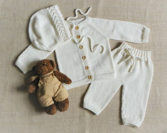 Christening outfit knitted baby set white merino set baptism baby set new baby outfit MADE TO ORDER
