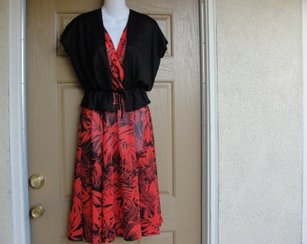 Vintage 1970s or 1980s floral print sheer dress medium red 70s 80s