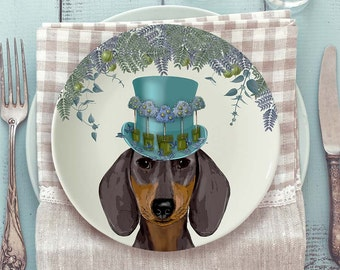 Bone china plate Dachshund Plate Dachshund gift dog plate decorative plate dog gift for dog lover Dachshund decor Dachshund mom gift doxie