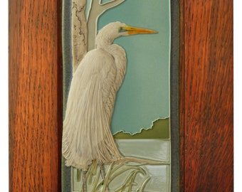 Tile, Framed Great Egret, sculpted art tile, 4x 8 inches