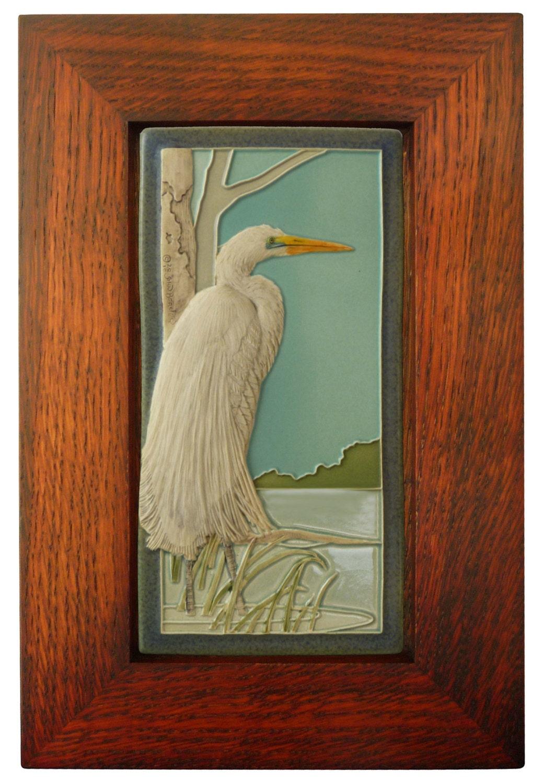 Framed Arts and Crafts Medicine Bluff 4x8 Egret Tile ...  Arts Craft Tile Egret
