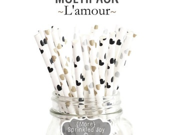 L'AMOUR Heart Multipack, Chic 25 Straws, Black, Gold, Silver, Valentines