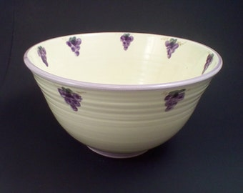 Ceramic bowl with hand painted grapes, grape bowl, pottery bowl, ceramic bowl, bowl pottery, bowl ceramic, serving bowl, deep pottery bowl