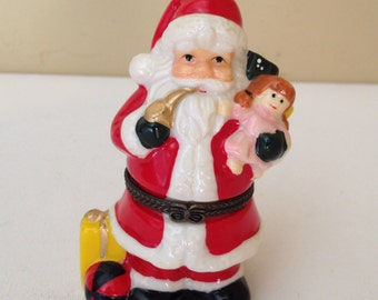"Adorable Santa Claus Hinged Trinket Box 4"" tall- Christmas Decoration- Stocking Stuffer"