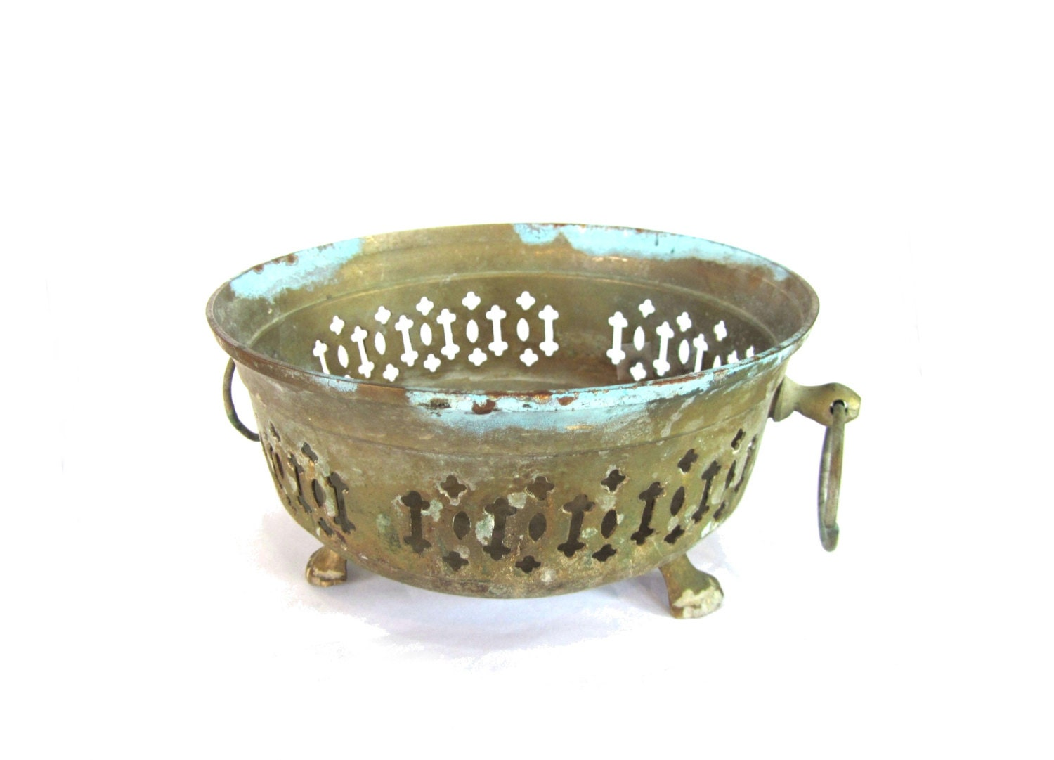 Copper Home Decor Small Bowl Patina Copper Footed Bowl