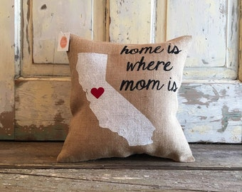 Pillow Cover | 'Home is Where Mom is' | Customize your City, State | Gift for Mom | Mom pillow | Christmas Gift | Mom Christmas |