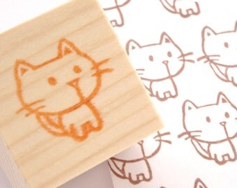 Cat rubber stamp, Handmade stamp, Animal geek stationery
