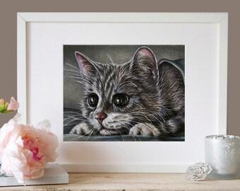 Cat print, cat art, cat poster, cat wall decor, cat illustration, cat picture, gift cat lover, animal print, animal art, animal decor, kitty