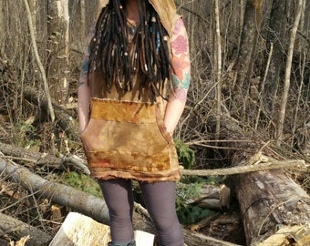 Hand dyed hemp hooded tunic hooded tank organic Eco friendly sustainable