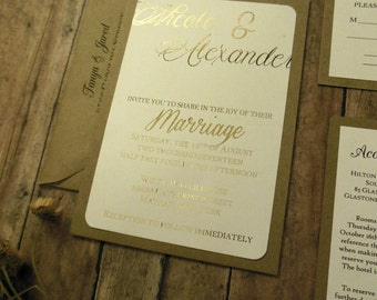 Rustic Gold Wedding Invitation - Blush Wedding Invitation , Rustic Wedding Invitation  Gold Foil and Brown Kraft Ideas