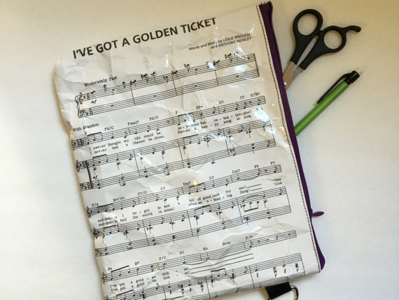 Charlie and the Chocolate Factory Themed Extra Large Vinyl Pouch - Golden tocket