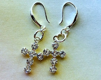 Small Swarovski Clear Sterling Silver Crystal Cross Earrings