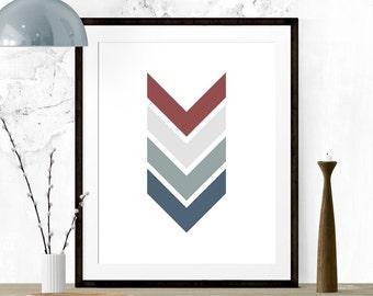Maroon and Slate Chevron Art, Chevron Print, Chevron Arrows, Chevron Nursery, Chevron Wall Print, Printable Art, Kitchen Print, Nursery Art