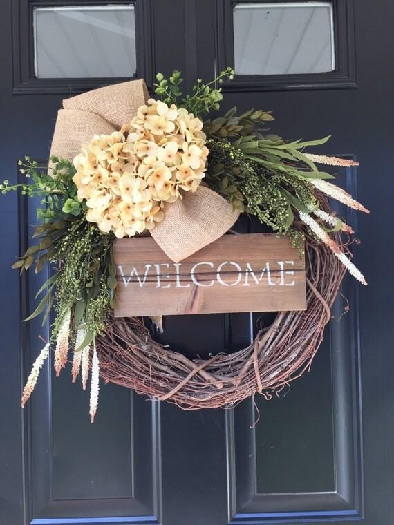 Welcome Wreath Country Cream Hydrangea Burlap Wreath All