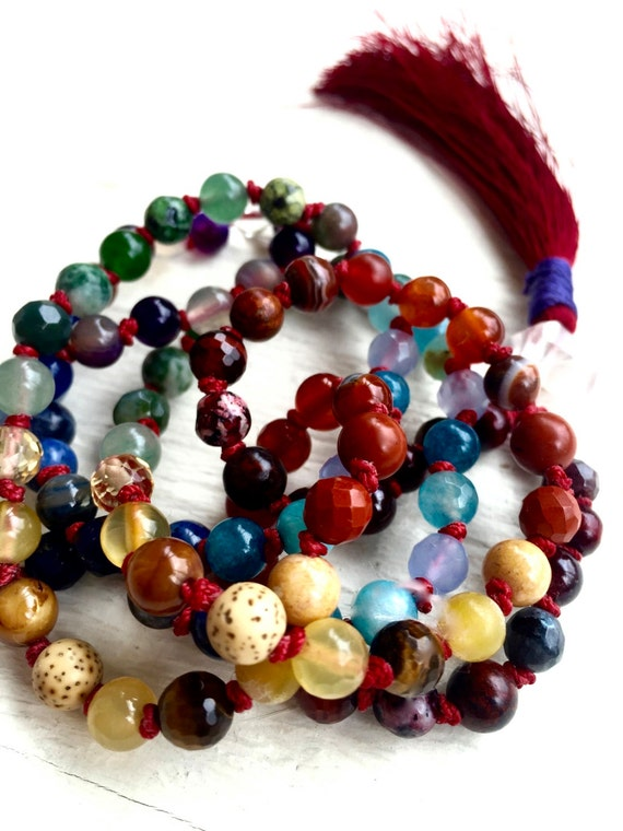 Kabbalah Chakra Mala Petite 7 Chakra Healing Mala Beads Red String Protection Herkimer Diamond Yoga Meditation Tassel Necklace Cleanse Aura