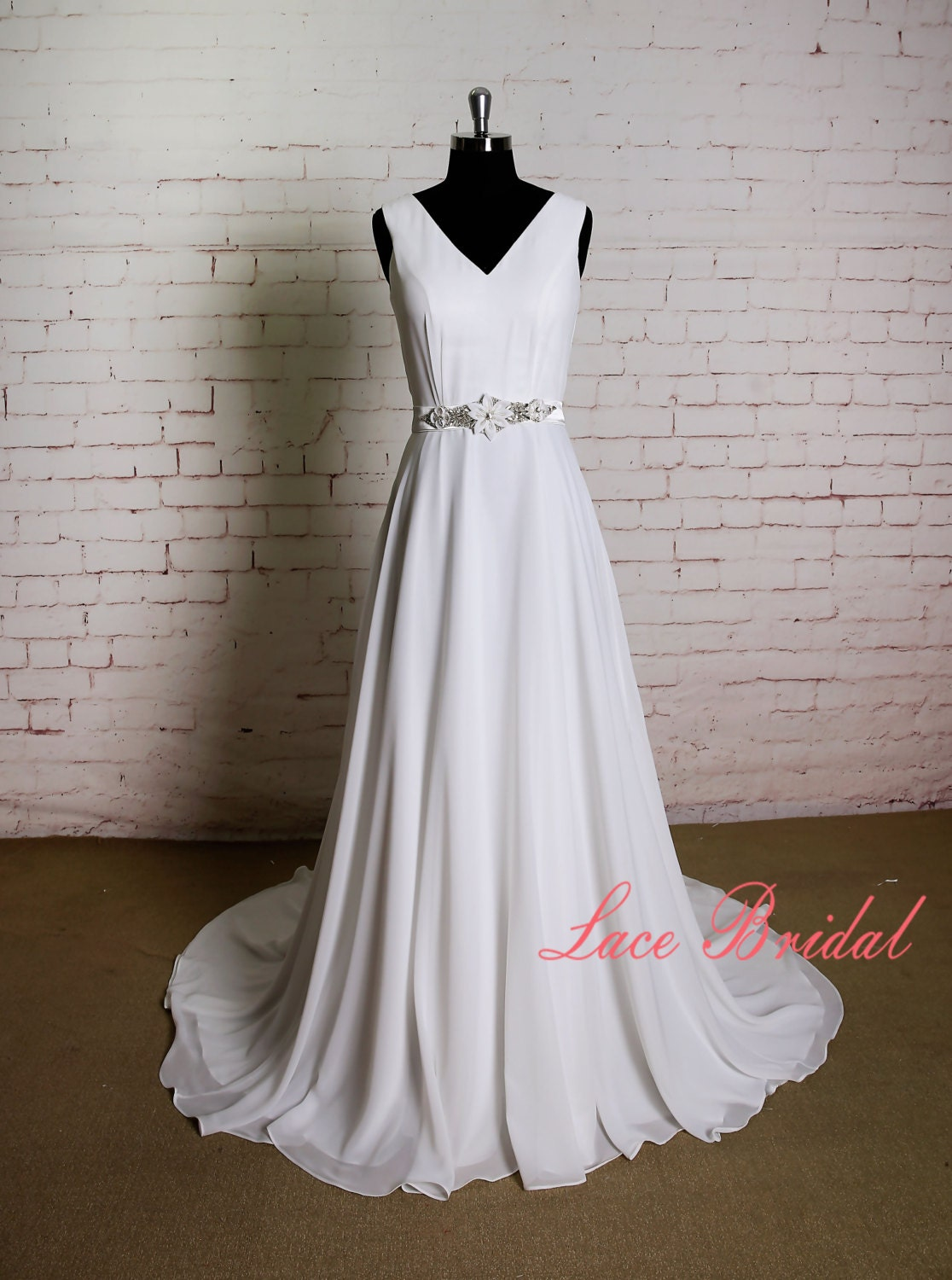 Simple chiffon wedding dress with handmade belt ivory a line for Ivory wedding dress belt