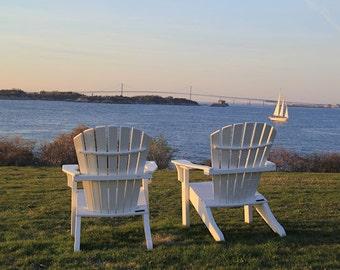 Adirondack Chairs Newport RI Photograph. Coastal Wall Art Castle Hill Rhode Island Photography. Newport Bridge Home Decor. Adirondack Chair
