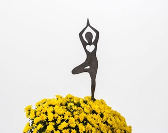 Yoga Tree Pose Heart Garden Art Stake