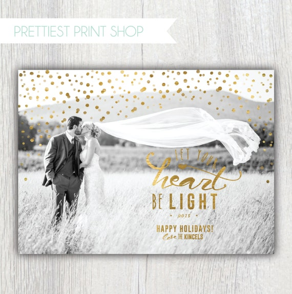 printable christmas card with photos let your heart be light