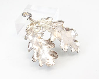Vintage Silver Dipped Leaf Brooch, Real Leaf