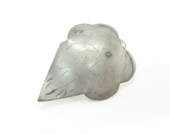 Vintage Pewter Leaf Brooch, Etched, C Clasp, Art and Crafts Style, Artisan Made