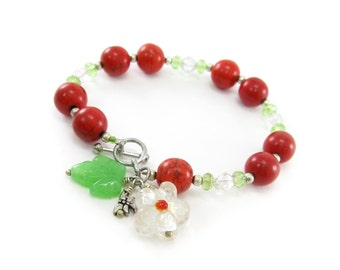 Vintage Red Glass Bead Bracelet, Flower, Leaf, Green Beads