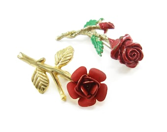 Vintage Red Rose Brooches, Gold Tone