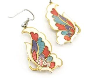 Vintage Cloisonne Butterfly Earrings, Enamel, Dangles, Hooks, Gold Tone