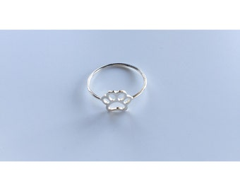 Paw Print Ring - Sterling Silver, sterling silver ring, paw print, silver ring, silver paw print