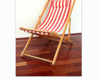 Folding Deck Chair with Red Striped Fabric, Beach Chair, Reclining Chair, Stripes, Canvas Chair, Sling Chair, Outdoor Chair WTH-700
