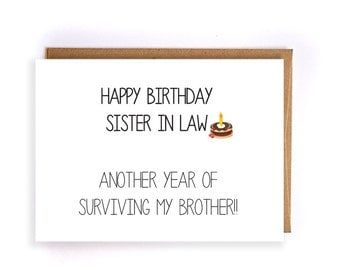 Sister in law birthday card gangcraft sister in law card etsy birthday card bookmarktalkfo Choice Image