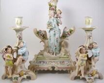 Vintage Bisque Figural Candle Holder Group Centerpiece Rudolstadt Germany Cherub