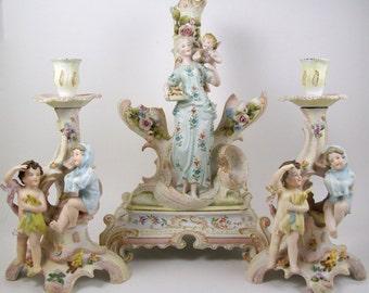 Vintage Rudolstadt Figural Centerpiece Vase w/ Candle Holders German Bisque Porcelain