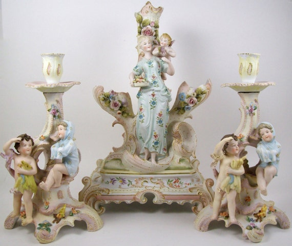 Vintage bisque figural candle holder group centerpiece