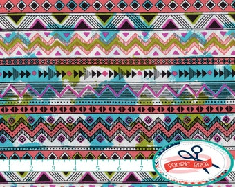 TEAL & CORAL TRIANGLE Stripe Fabric by the Yard Fat Quarter Aztec Fabric Geometric Quilting Fabric Apparel Fabric 100% Cotton Fabric a4-25