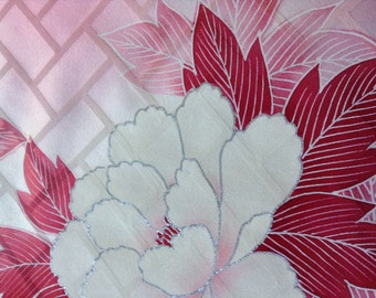 Peony Pink/ kimono fabric/ floral pattern/ Vintage Kimono silk fabric/A