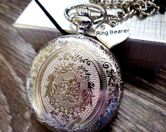 Ring Bearer Pocket Watch Personalized Quartz And Chain Gift Idea Wedding Party
