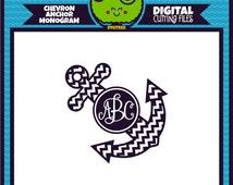 Chevron Anchor SVG, Anchor SVG, Anchor Monogram, svg files, dxf files, studio files, cricut files, digital cut files