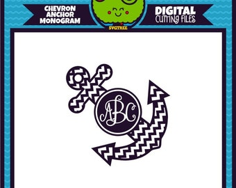 Chevron Anchor SVG Monogram svg Anchor SVG Anchor Monogram SVG Commercial Free Cricut Files Silhouette Files Digital Cut Files