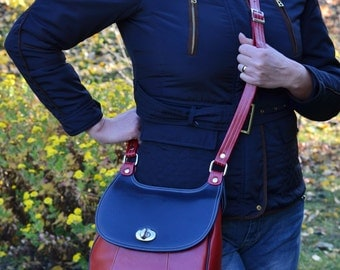 Red LEATHER MESSENGER Bag, Leather Crossbody Bag, Vintage Style Leather Bag, Leather Messenger Bag Women, Handmade Leather Bag