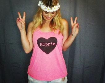 Hippie heart quote racerback tank top for tween girls, teen girls, and ladies