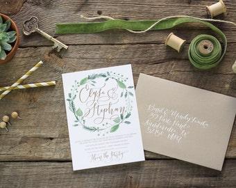 Wedding Invitation Set Deposit-Custom Hand Lettering-Romantic rustic Wedding Invitations-Modern Calligraphy Invites-Hand Lettered Invites